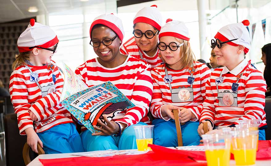 Children dressed in Where's Wally costumes